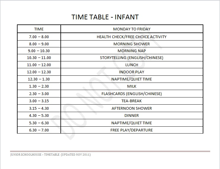 Infant Daily Schedule | Junior Schoolhouse